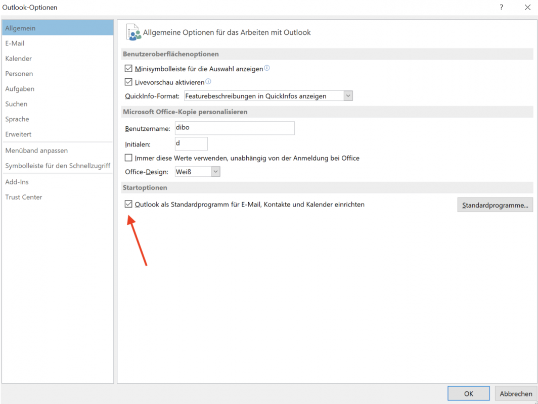 Outlook als Standardprogramm